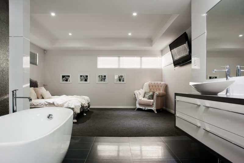 modern bathroom with bed