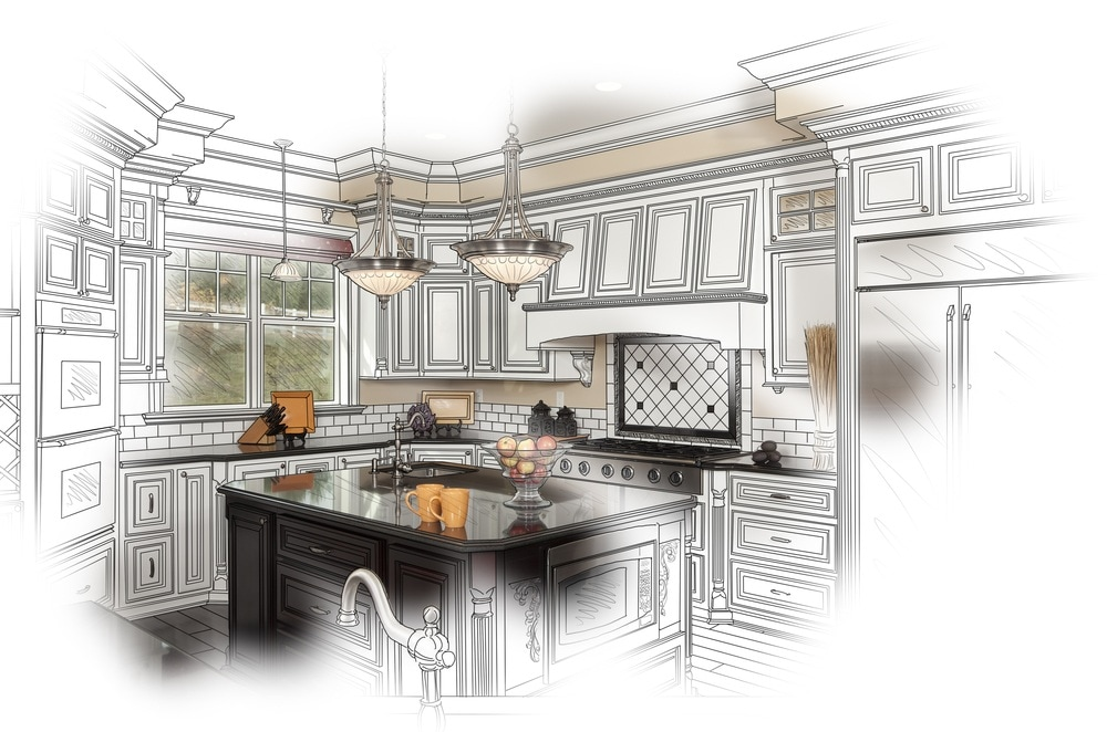 black and white sketch of a kitchen interior
